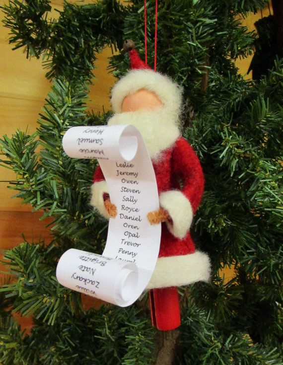 Santa claus christmas ornament santa with list List of christmas ornaments