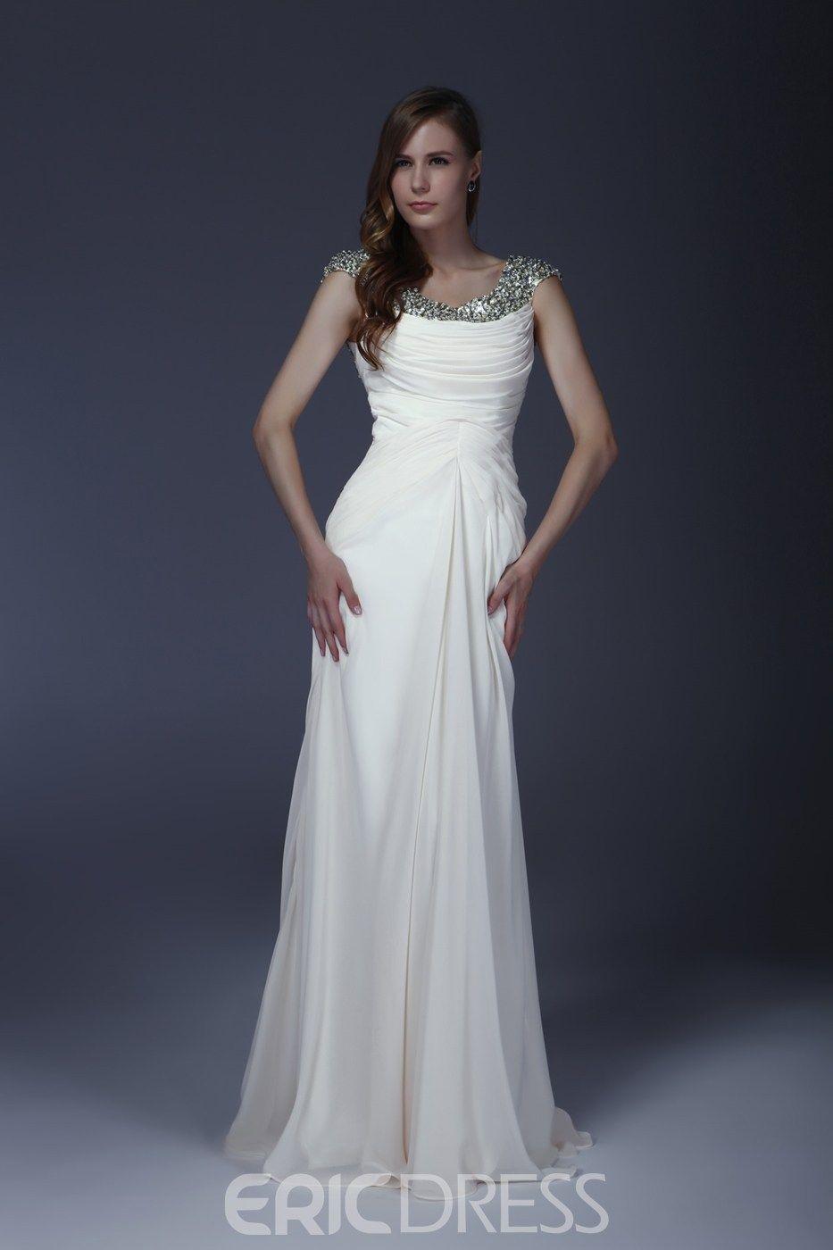 Delicated Beaded Squins Column Scoop FloorLength Mother of the Bride Dress