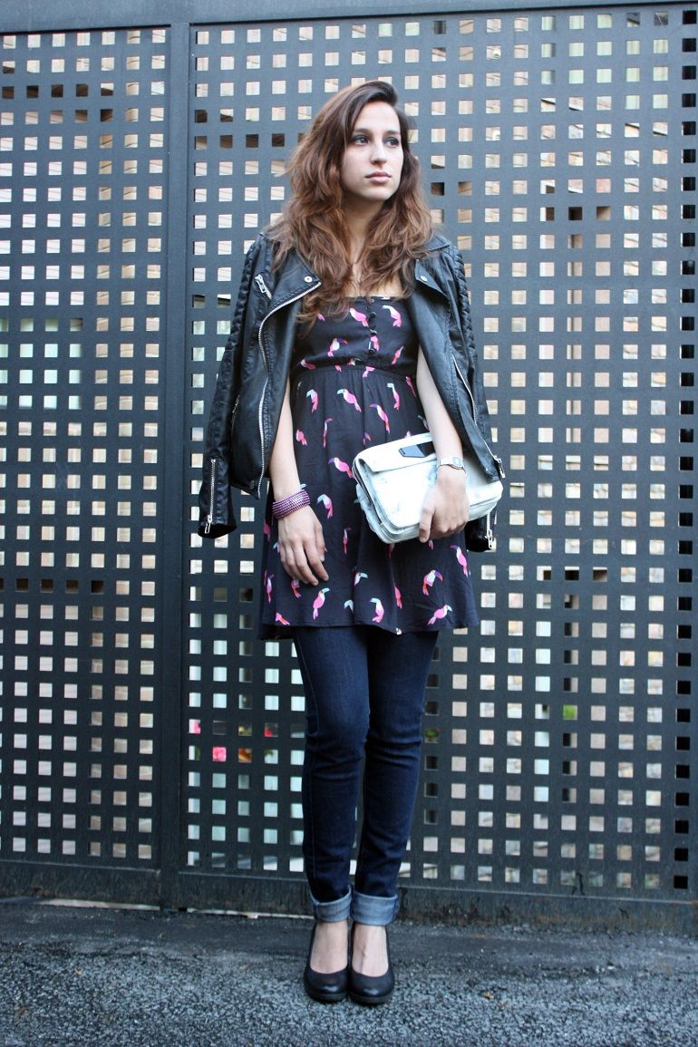 moda, fashion, outfit, ootd, flamencos, flamigo, print, pink, rosa, blue, azul, dress, shana, bag, bolso, parfois