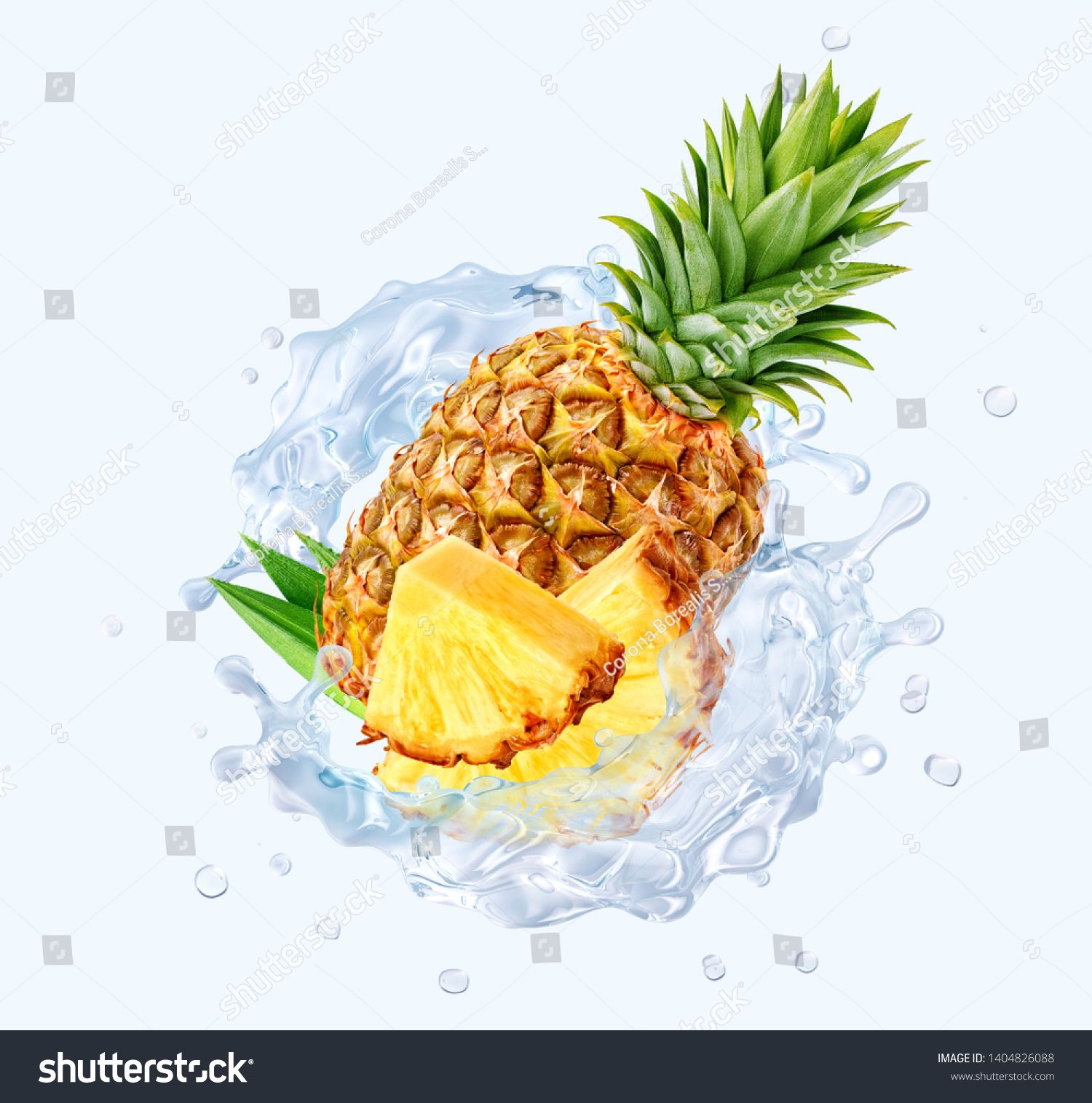 Fresh Cold Pure Pineapple Water With Pineapple Slices And 3d Waves Splash Pineapple Water Or Cocktail Wave Swirls Desi Pineapple Water Pineapple Pure Products
