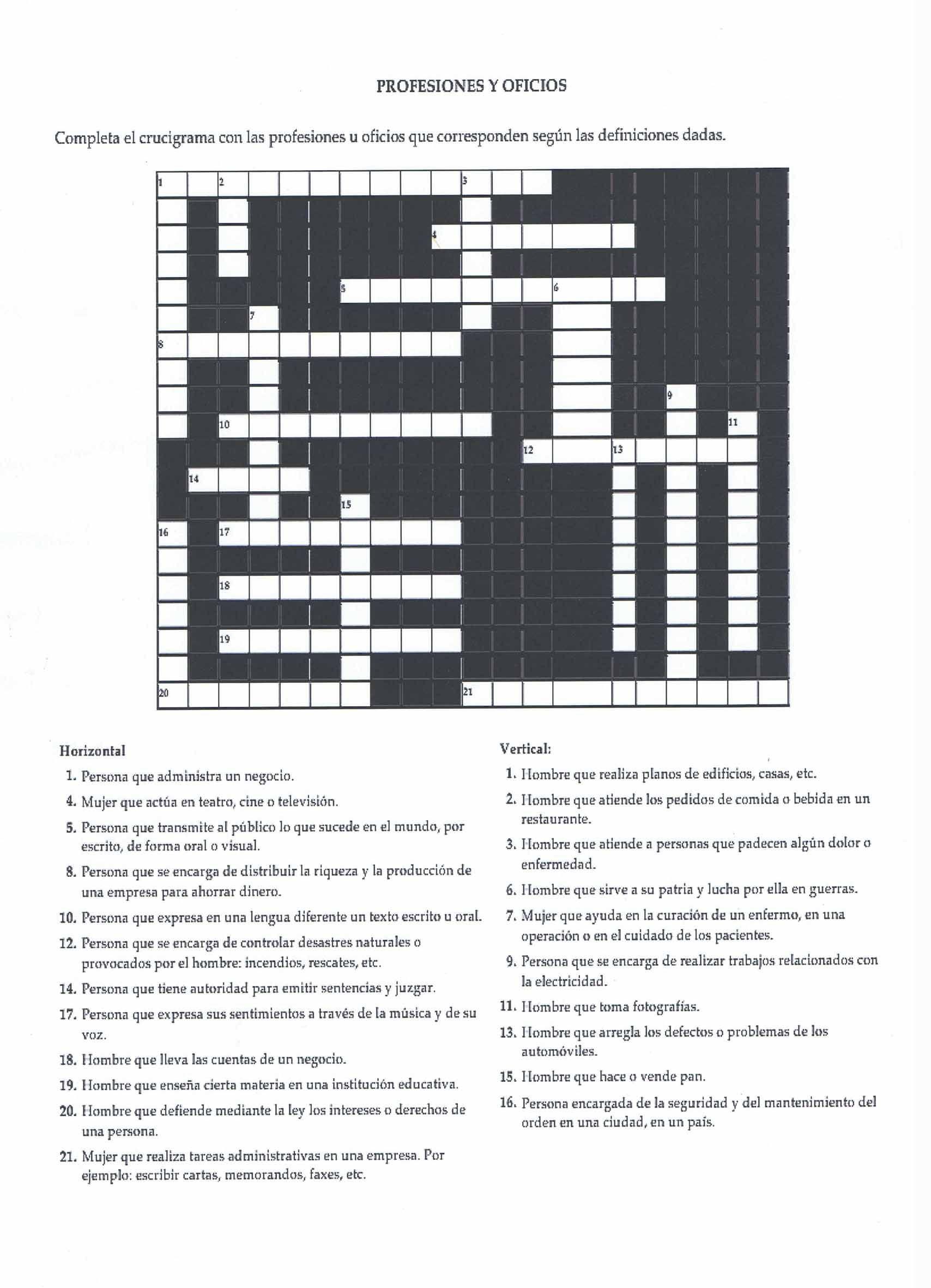 Profesiones Y Oficios Crossword All In Spanish