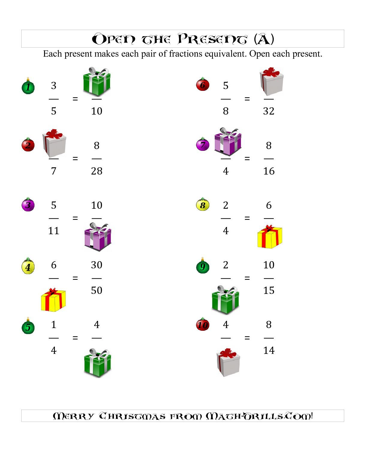 The Open the Present Equivalent Fractions (A) math worksheet from ...