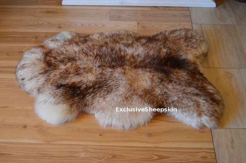 Genuine White Brown Sheepskin Rug 100 Natural Color Soft Long Etsy In 2020 Sheepskin Rug Rugs On Carpet Rugs