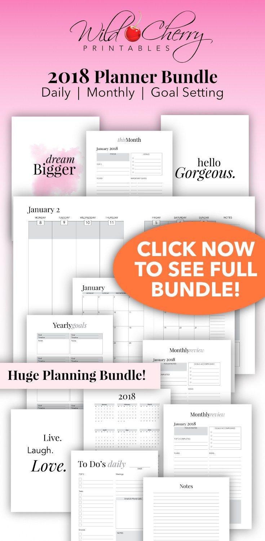 2018 planner printable 2018 agenda 2018 weekly planner a4 planner