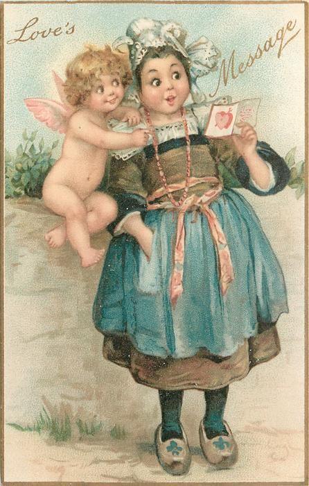 Love S Message Dutch Girl Reads Valentine Cupid On Wall At Her Shoulder Vintage Valentine Cards Victorian Valentines Valentine Postcards