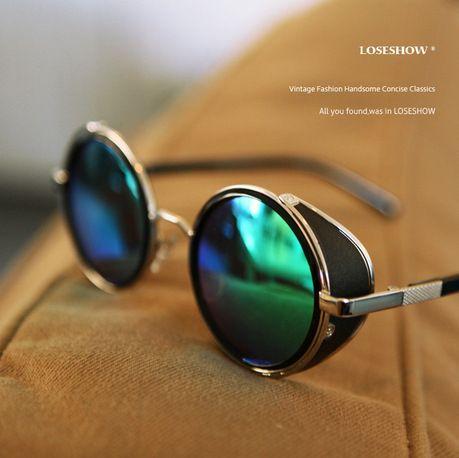 f545071822b5b Aliexpress.com   Buy Vintage Steampunk designer sunglasses Side Visor  Circle Lens Round sun glasses