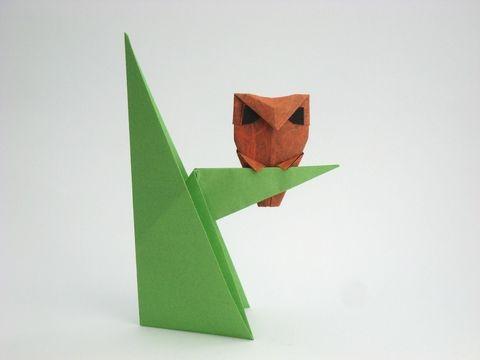 Origami Owl By Kunihiko Kasahara Tree Folded From A Rectangle Of