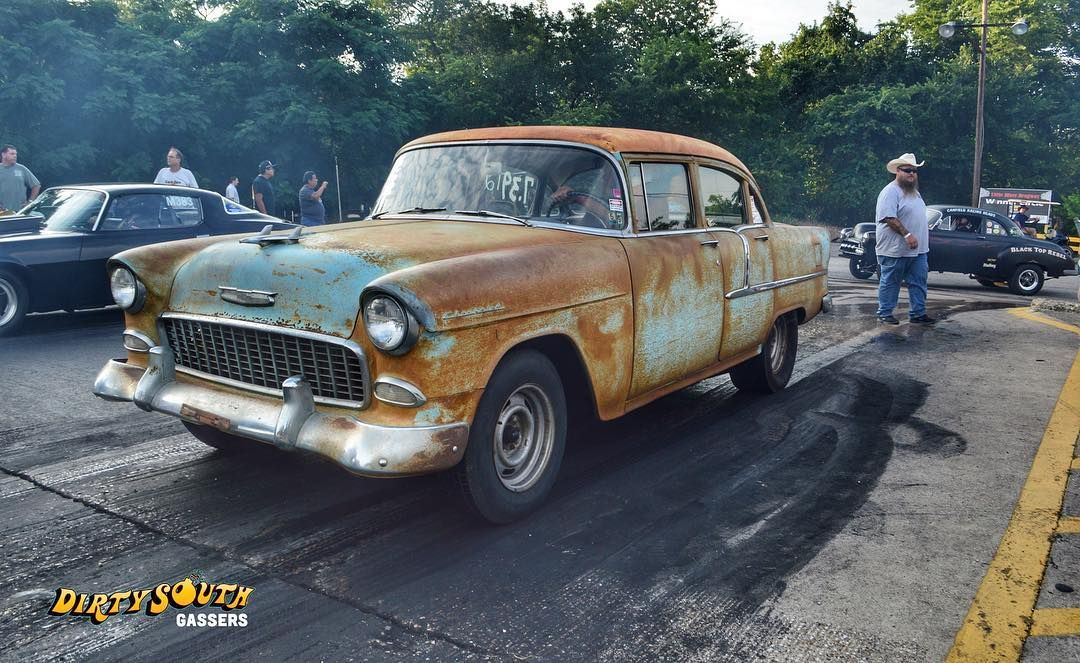 Patina perfection on this \'55 Chevy. It\'s kicking ass and taking ...