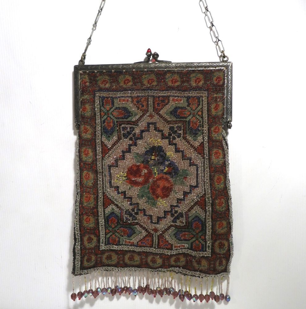 Vintage+Antique+Floral+Micro+Beaded+Purse+Stained+Glass+Crystal+Beaded+Fringe+