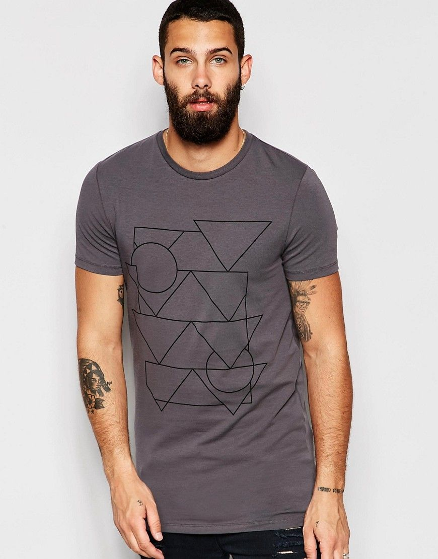 Image 1 of ASOS Longline Muscle T-Shirt With Linear Geo Print In Grey