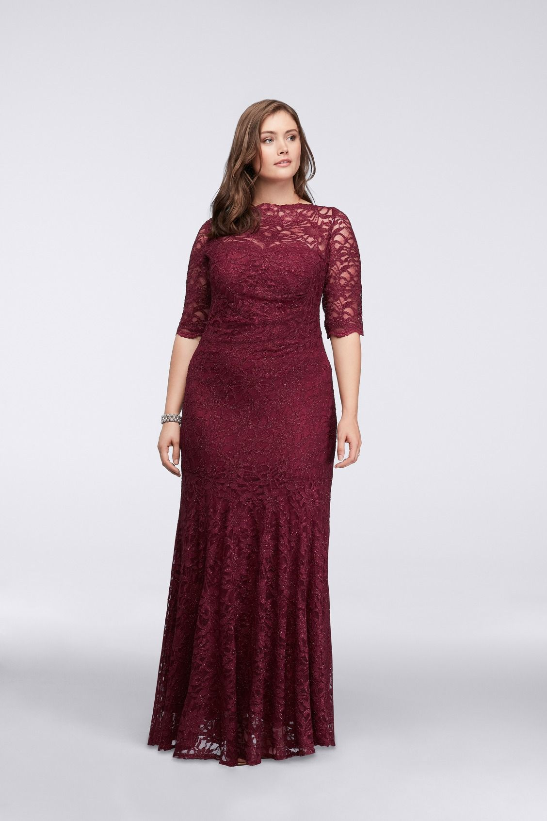 Long 3/4 Sleeve All Over Glitter Lace Mermaid Burgundy Mother of the ...