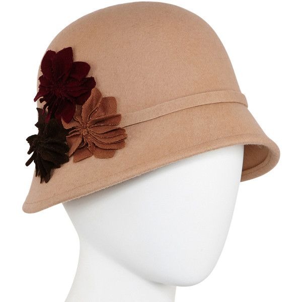 Scala™ Camel Flower Wool Cloche Hat ( 18) ❤ liked on Polyvore featuring  accessories ecc5b13b171d