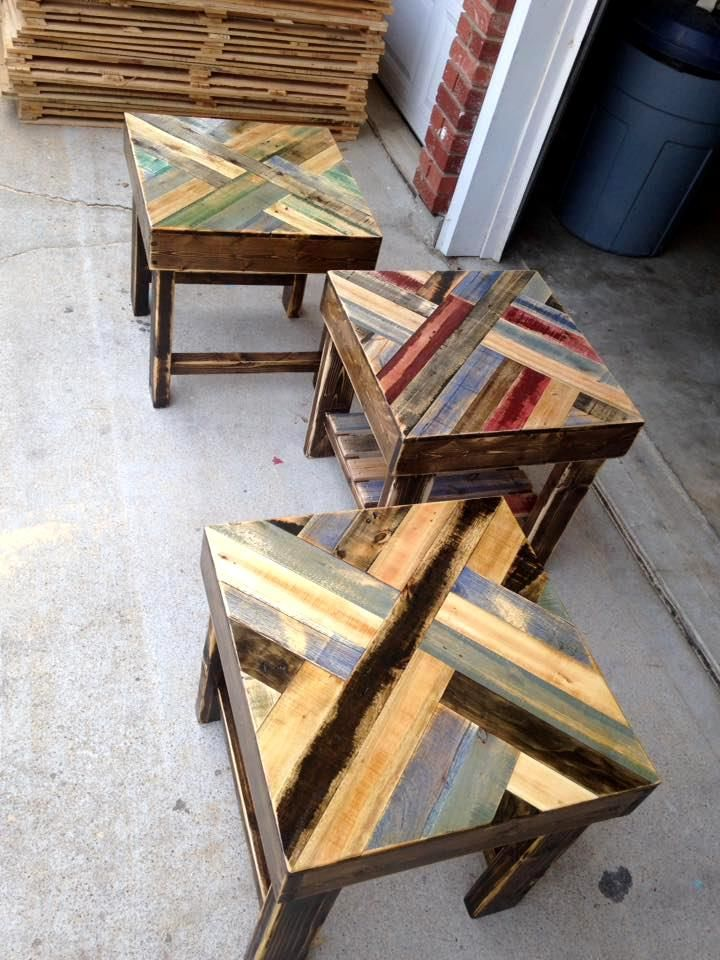 Check Out This DIY Pallet End Tables Having Been Installed From The Free  Found Pallets With Distinctive Patterned Tops, Base Shelves And Sturdy  Leggy ...