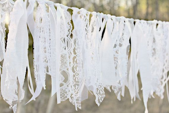 White Lace Garland, Lace Bunting, Silver Garland, Party Decor, Rustic Wedding Garland, Photo Prop, Shabby Lace Garland, Barn Wedding Decor #barnweddings