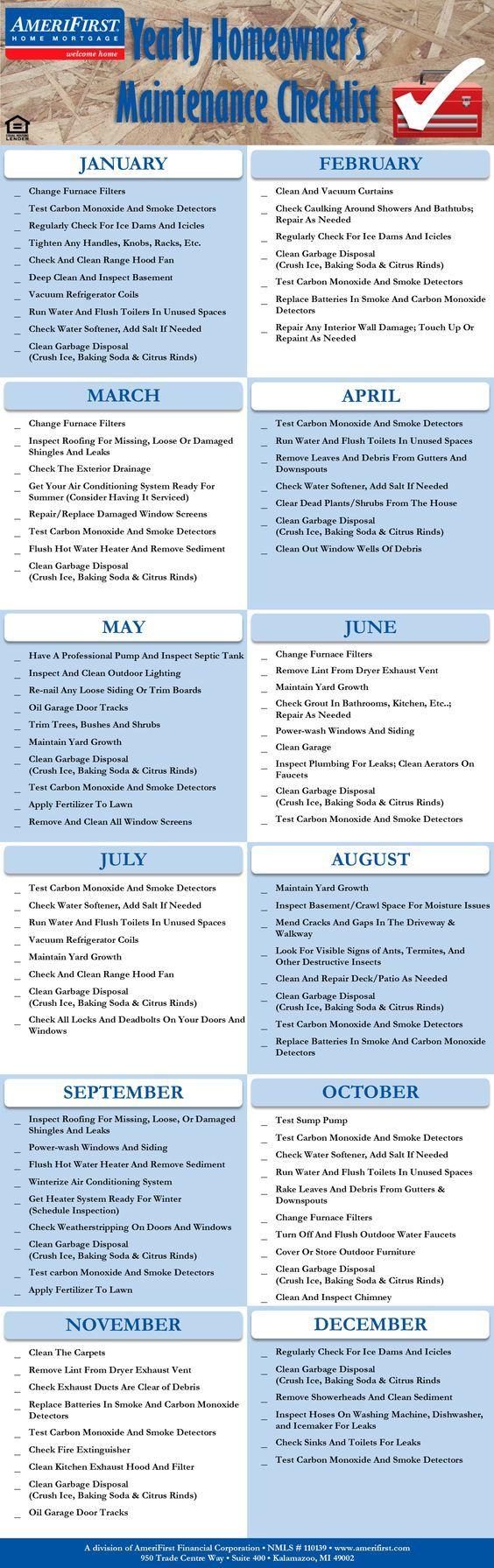 home maintenance checklist template