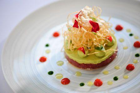 Photo of: Tuna tartare, avocado, creme fraiche, ketchup and basil oil, Pied à Terre, Central London restaurant