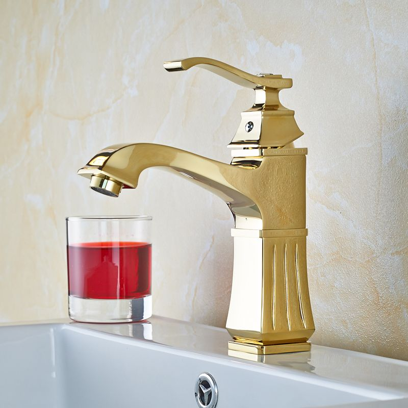 Golden Solid Brass Bathroom Sink Faucet Single Handle Mixer Tap Basin  Faucet With Cover Plate #