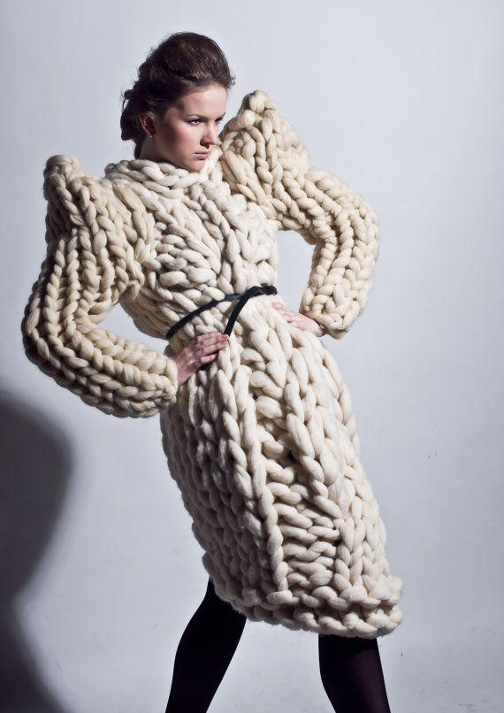 grosse maille gilet en grosse laine pull en tricot g ant tricots mode unique grand manteau. Black Bedroom Furniture Sets. Home Design Ideas