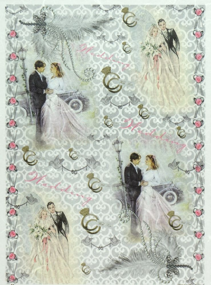 Rice Paper for Decoupage Decopatch Scrapbook Craft Sheet Vintage Wedding Day 2