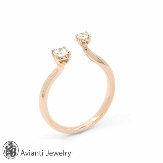 Diamond and Rose Gold Ring, 2 Stone Ring | LDR02163 on Etsy