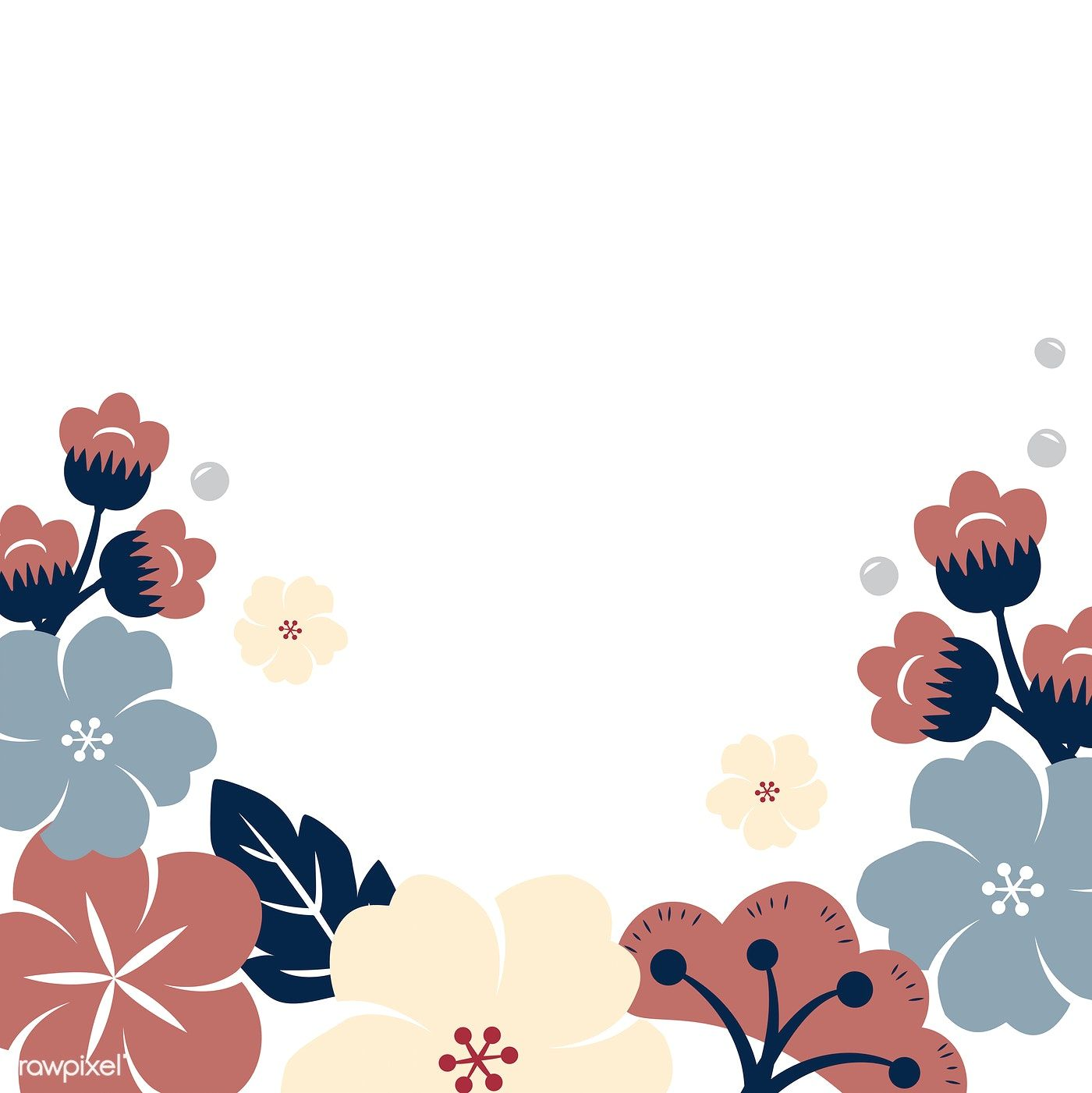 Colorful Floral Border Background Vector Free Image By Rawpixel Com Kappy Kappy Vector Free Japanese Blossom Flower Icons