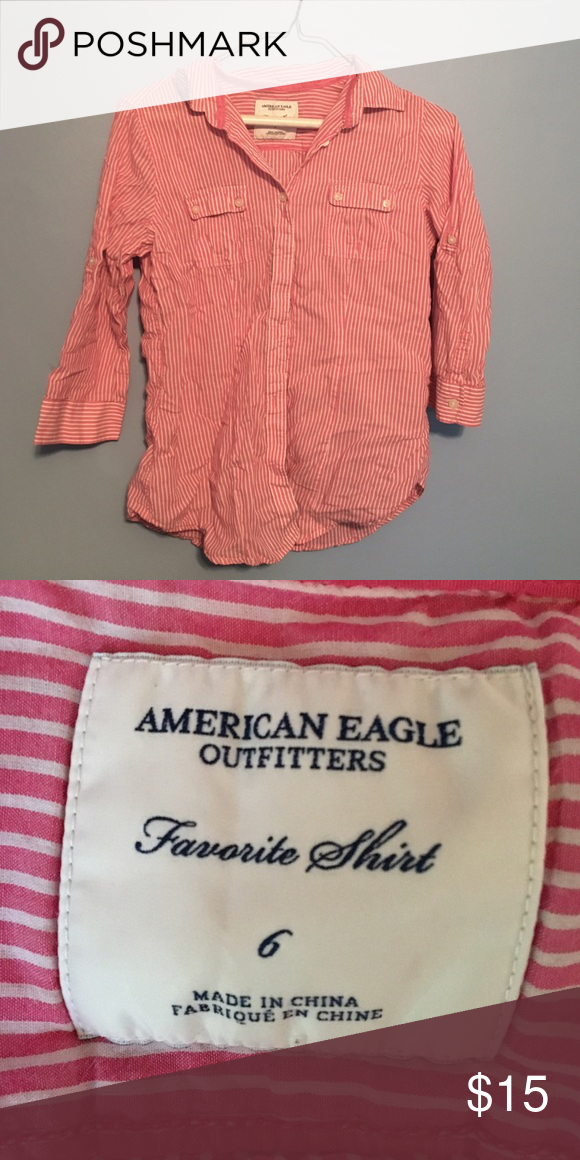American Eagle favourite shirt button up  such a cute casual top! relaxed feel with half sleeves. all buttons are still on and no flaws or stains. American Eagle Outfitters Tops Button Down Shirts
