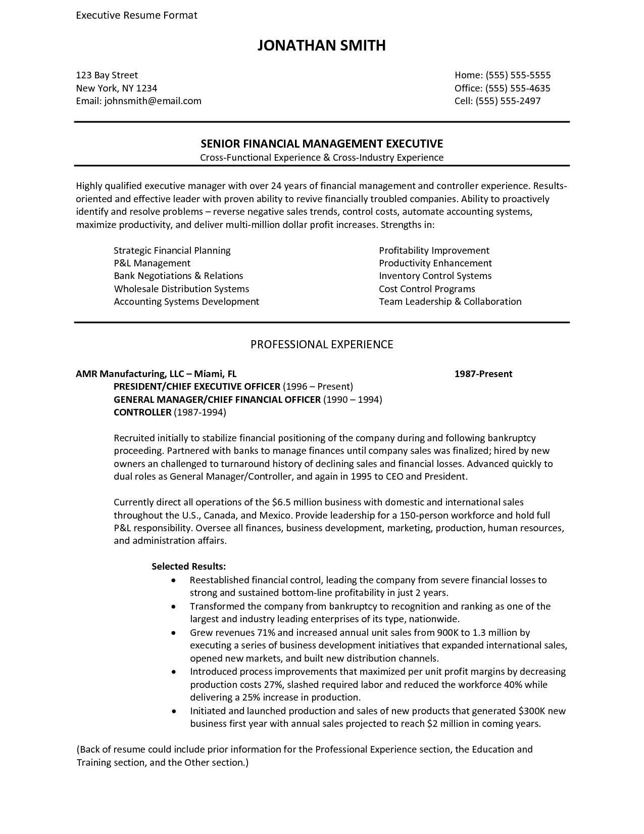 Fmcg Format Sample Executive Resume Cover Letter  Executive Resume Formats And Examples
