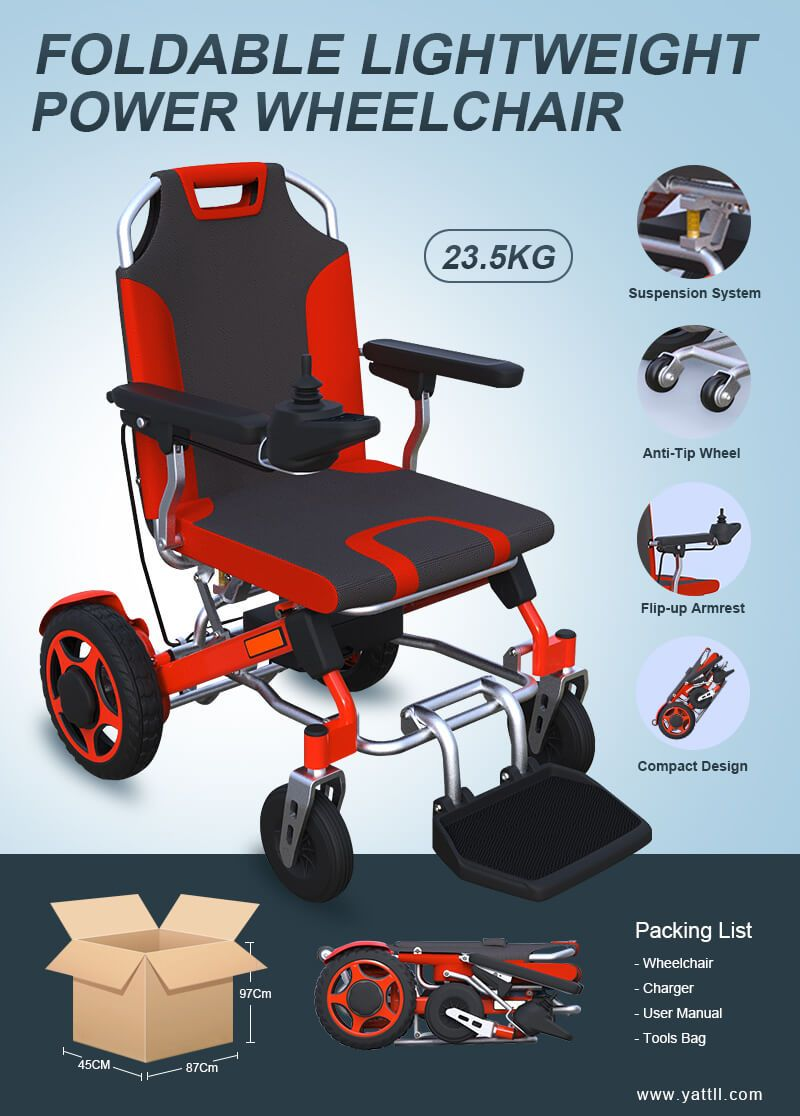 designer fashion e7575 b9e34 lightweight foldable power wheelchair YE246 YATTLL