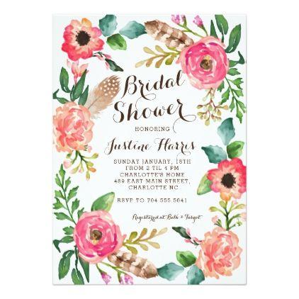 DIY Digital File Modern Bridal Shower or Baby Shower Invitation Printable Floral you pick colors CUSTOM