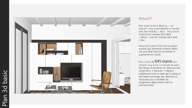 Appartement à Barcelone, Salon, Astuce, Meuble Tv+armoires Vetements:  Modules Ikea