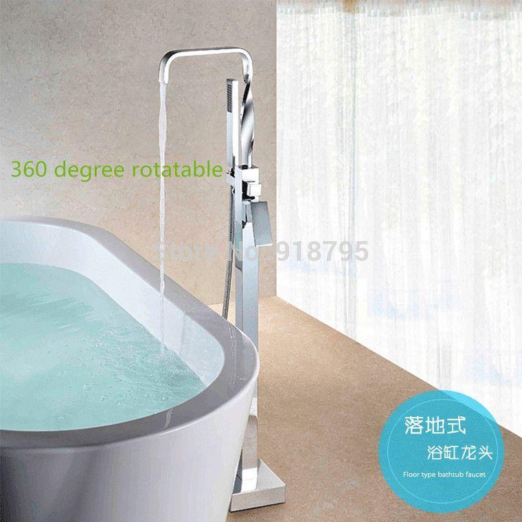 Brass chrome plating floor stand faucet,bathtub mixer, floor stand ...