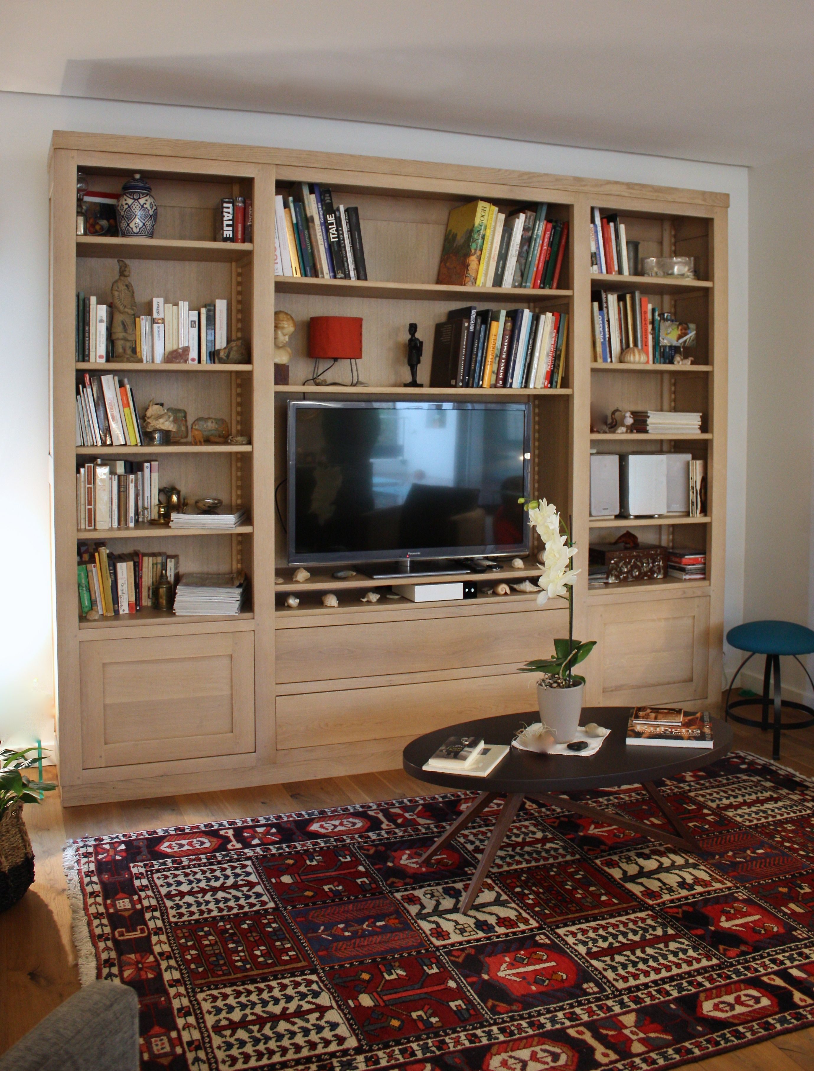 bibliotheque meuble tv chene massif