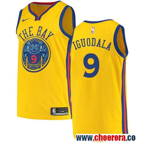 8636da7af8e Golden State Warriors  9 Andre Iguodala Gold Nike NBA Men s Jersey City  Edition