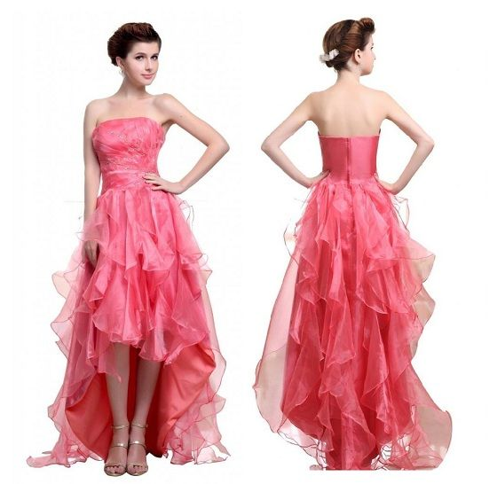 trendy Cute pink formal prom high low homecoming dresses for juniors ...