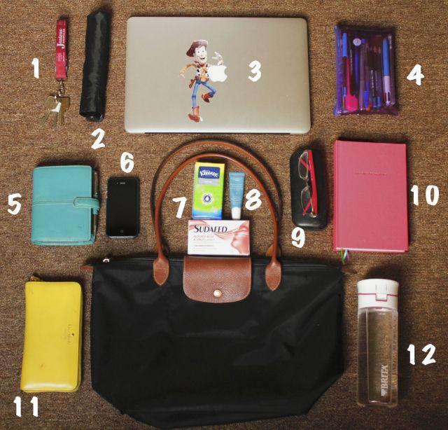 bag contents, filofax, glasses, handbags, le pliage, longchamp,  organization, wallet, water bottle, whats in my bag, handbag, 416c8cb429
