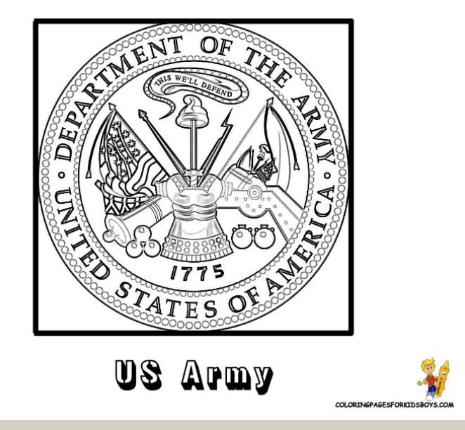 Lots of FREE Military Coloring pages including the seal for each