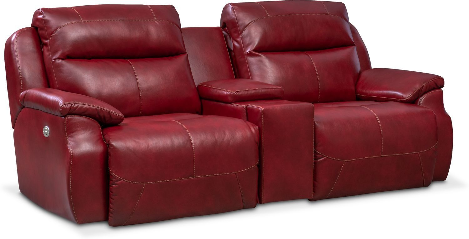 Spectrum Dual Power Reclining Sofa With Console Red Products Reclining Sofa Sofa Recliner