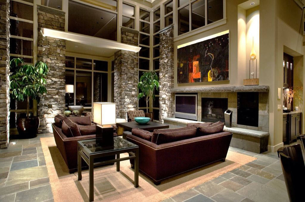 Rustic Living Room With Stone Fireplace Slate Floors Rough Cut Veneer High Ceiling Pental Floor Tile