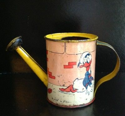 Ohio ART Vintage TIN Watering Can Disney Donald Duck Litho TOY 1938