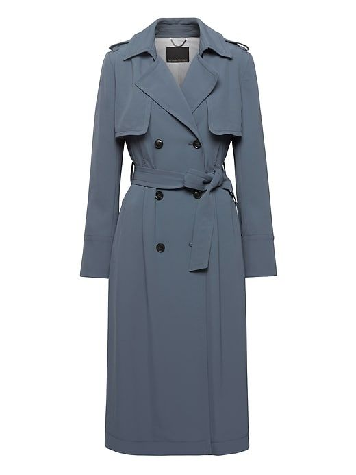 Banana Republic Womens Soft Pleated Long Trench Coat Blue Gray ... 8dc2d295825