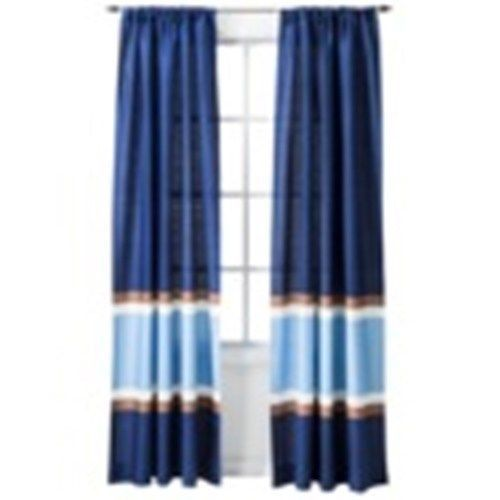 Beautiful TWO CIRCO BLUE WINDOW PANELS CURTAINS STRIPE NEW TARGET BOYS 54 X 84 NEW # Circo