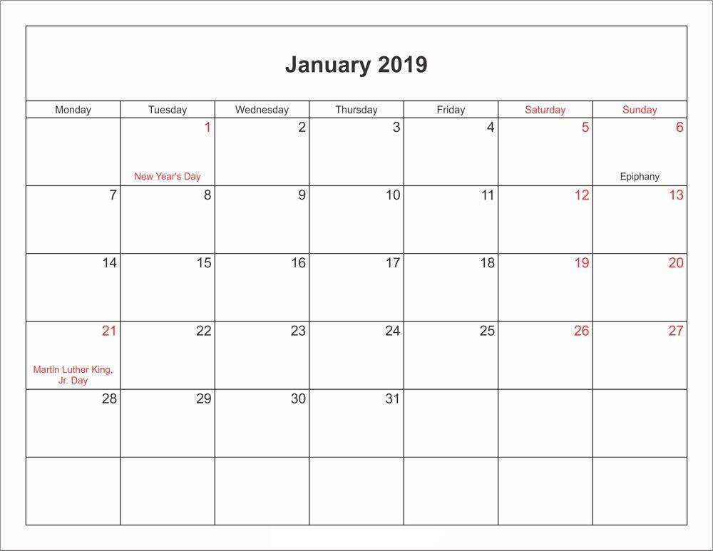 January Calendar 2019 Editable Template January 2019 Calendar