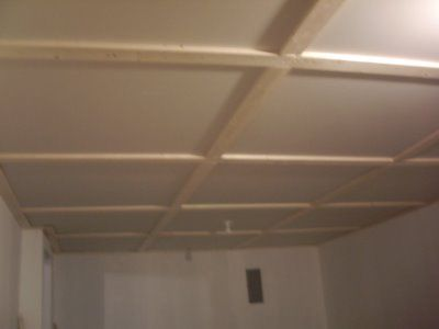 DIY drop ceiling with wood and drywall panels