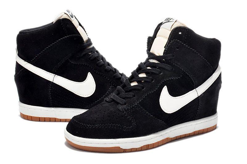 Sky Hi Women Nike Dunk Wedge Shoes Suede Black White  2850f674d5