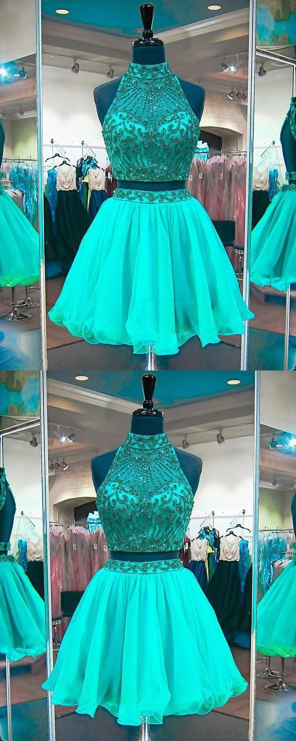Vogue two pieces party dress prom dresses green prom dresses