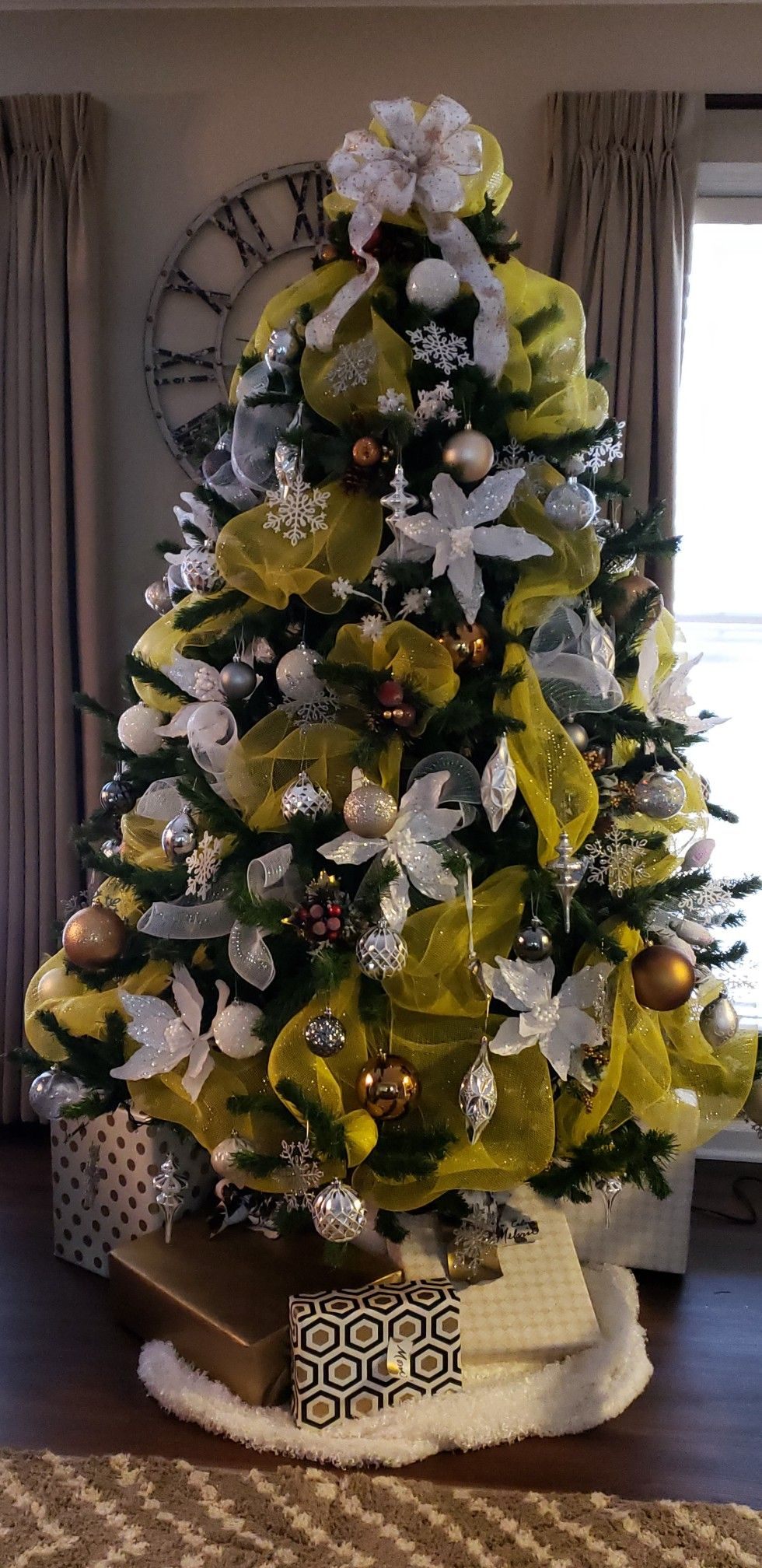 Yellow Merry And Bright Christmas Tree Yellow Christmas Tree Yellow Decorations Christmas Tree Inspiration