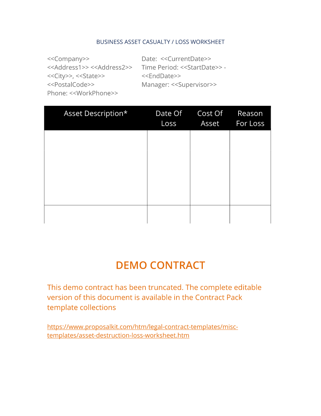 How To Write Your Own Asset Destruction Loss Worksheet
