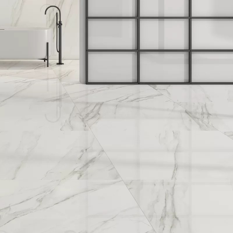 Calacatta 12 X 24 Porcelain Field Tile In 2020 Best Bathroom Designs Porcelain Tile Bathroom Polished Porcelain Tiles