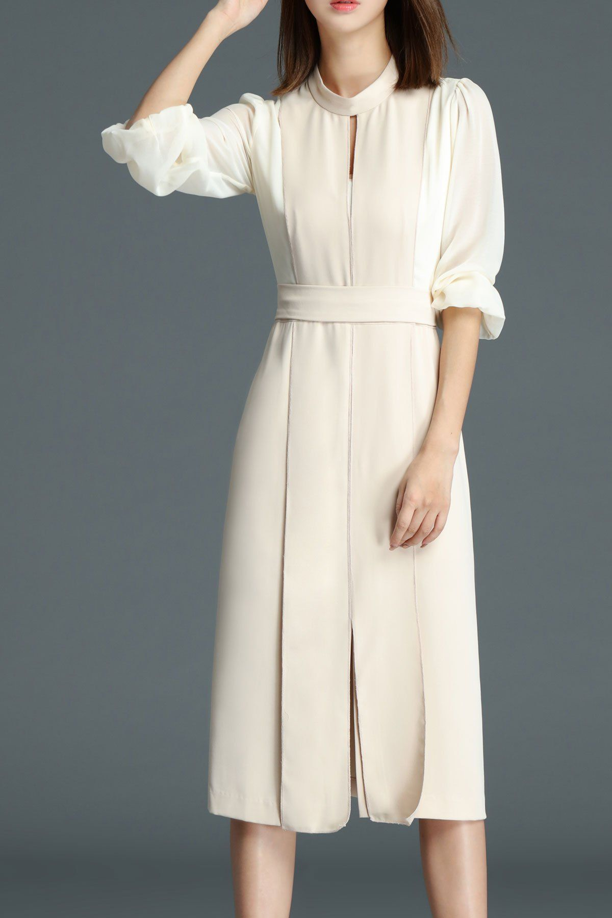 Long sleeve panel midi dress apricot m clothes pinterest