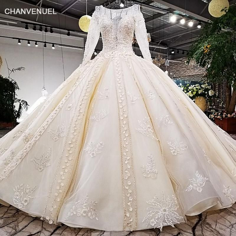 Drop Sleeve Wedding Gowns With: LS39741 100% Real Show Custom Accepted Dress Long Sleeve